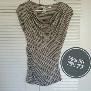 Tops - Neutral striped top w/ figure flattering details